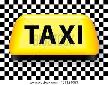 Yellow taxi sign withblack white checkered background