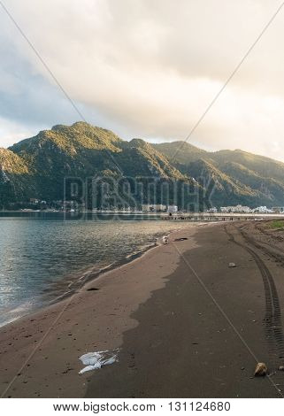 A Beautiful beach scenery in Marmaris Turkey