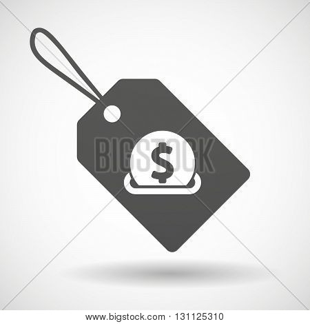 Isolated Shopping Label Icon With  A Dollar Coin Entering In A Moneybox