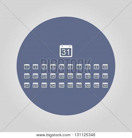 Flat vector calendar icon. Design style EPS