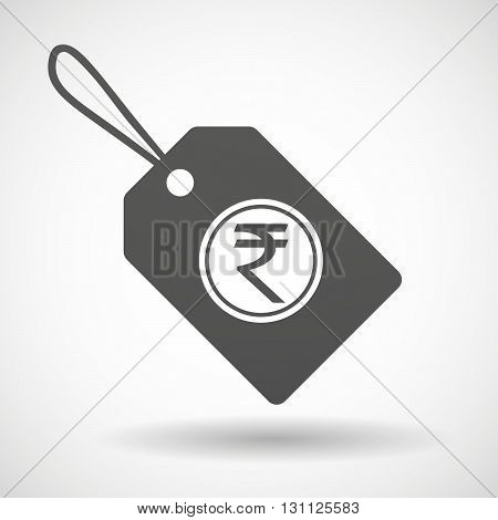Isolated Shopping Label Icon With  A Rupee Coin Icon