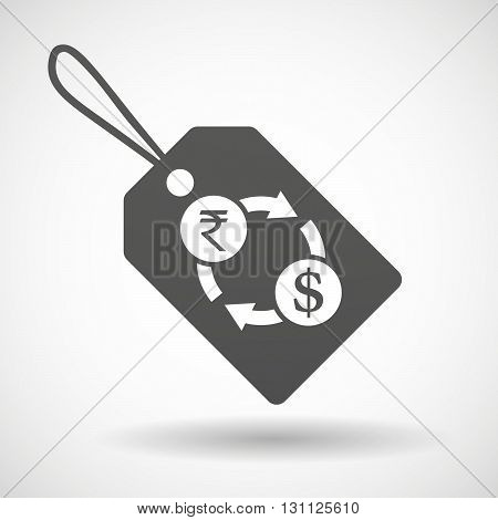Isolated Shopping Label Icon With  A Rupee And Dollar Exchange Sign