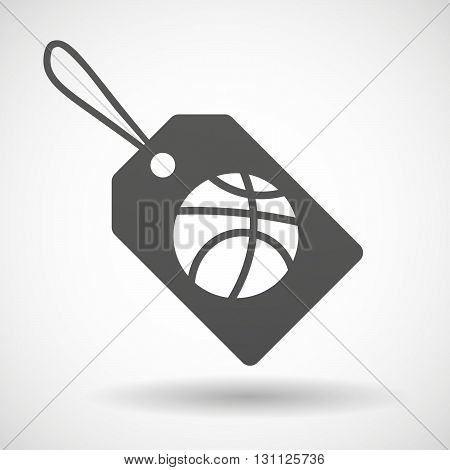 Isolated Shopping Label Icon With  A Basketball Ball