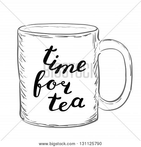 Time For Tea. Brush Hand Lettering.