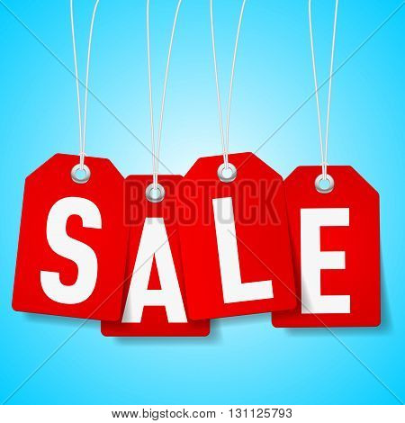 Red price tags with Sale word on blue background