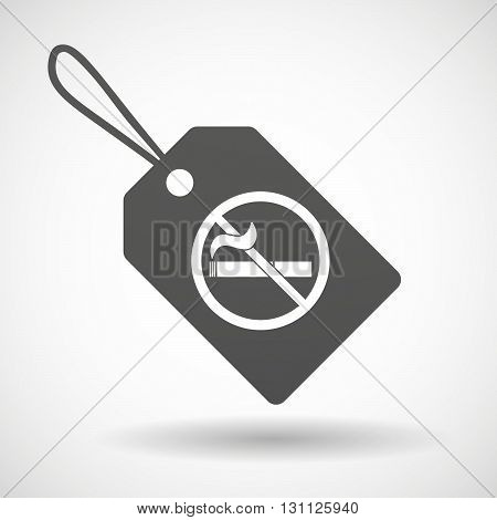 Isolated Shopping Label Icon With  A No Smoking Sign