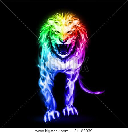 Fire lion in spectrum colors on black background