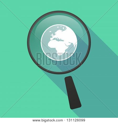 Long Shadow Magnifier Vector Icon With   An Asia, Africa And Europe Regions World Globe