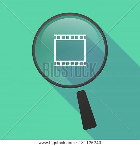 Long Shadow Magnifier Vector Icon With   A Photographic 35Mm Film Strip