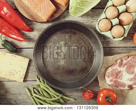 Frying pan with vegetables on the table