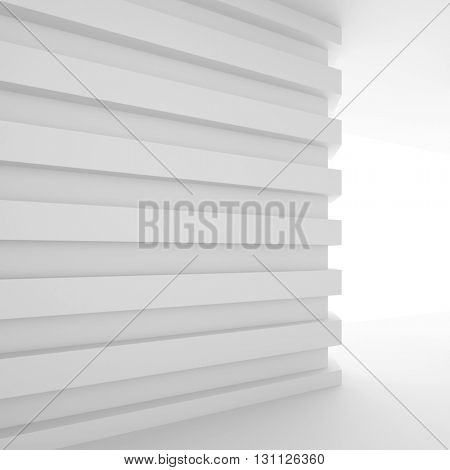 3d Illustration od White Interior Design. Empty Room with Door. Abstract Architecture Background