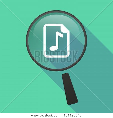 Long Shadow Magnifier Vector Icon With  A Music Score Icon