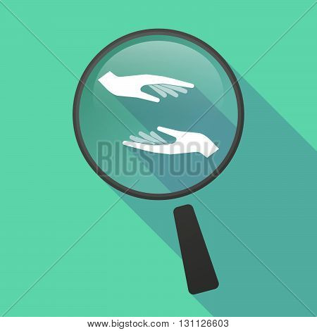 Long Shadow Magnifier Vector Icon With  Two Hands Giving And Receiving  Or Protecting