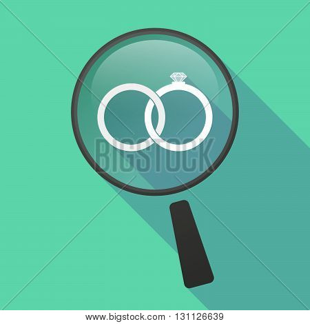 Long Shadow Magnifier Vector Icon With  Two Bonded Wedding Rings