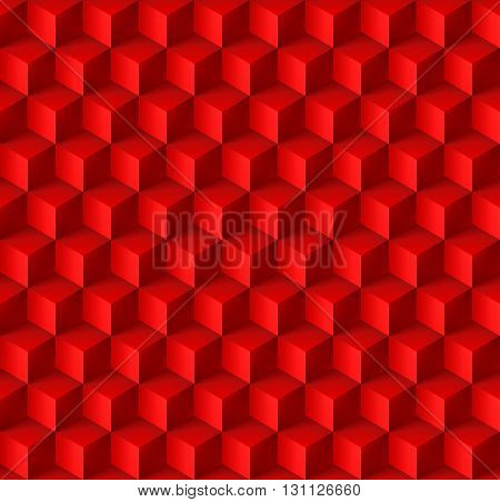 Abstract geometric background with cubes in red