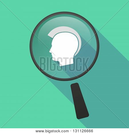 Long Shadow Magnifier Vector Icon With  A Male Punk Head Silhouette