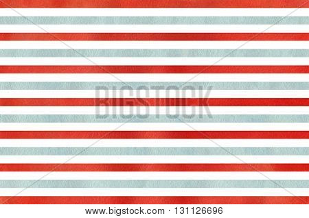 Watercolor red and blue striped background. Abstract watercolor background with red and blue stripes.