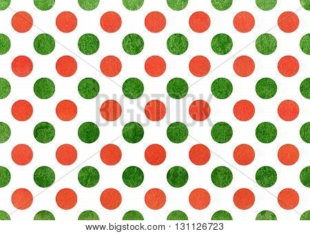 Watercolor dots in orange and green color. Watercolor orange and green polka dot background. Texture with colorful polka dots for scrapbooks wedding party or baby shower invitations.