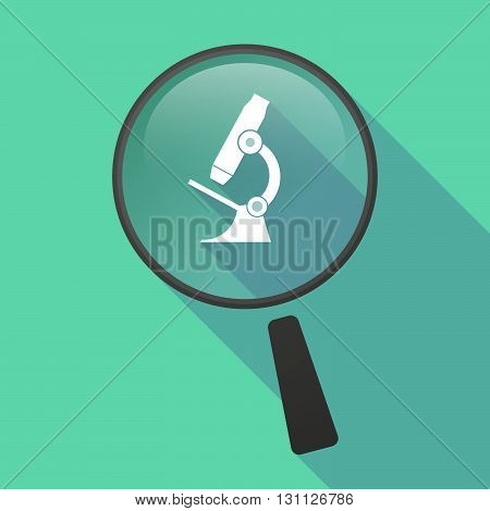 Long Shadow Magnifier Vector Icon With  A Microscope Icon