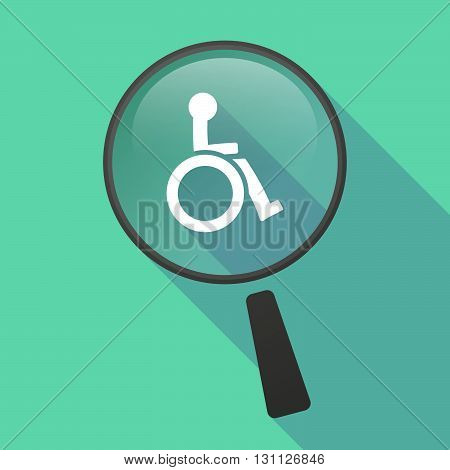 Long Shadow Magnifier Vector Icon With  A Human Figure In A Wheelchair Icon