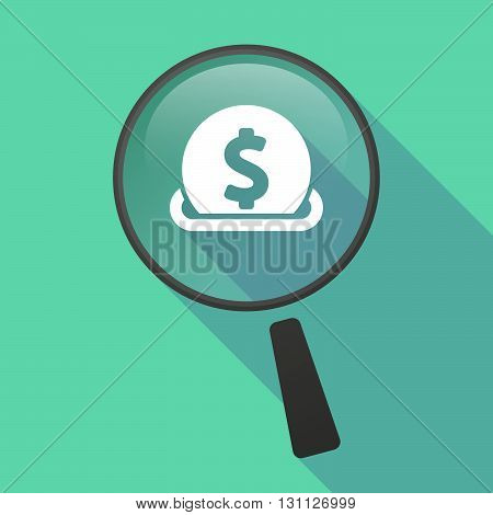 Long Shadow Magnifier Vector Icon With  A Dollar Coin Entering In A Moneybox