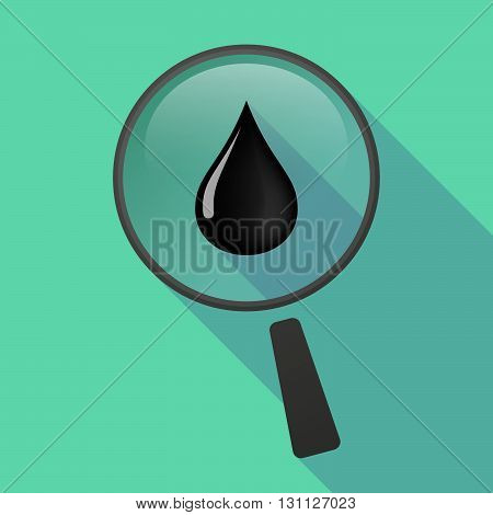 Long Shadow Magnifier Vector Icon With  A Rupee And Dollar Exchange Sign