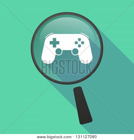 Long Shadow Magnifier Vector Icon With  A Game Pad