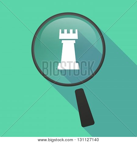 Long Shadow Magnifier Vector Icon With A  Rook   Chess Figure