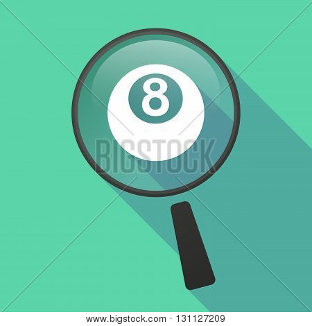 Long Shadow Magnifier Vector Icon With  A Pool Ball