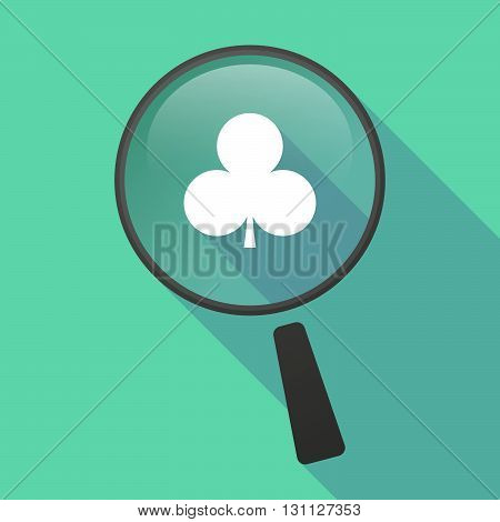 Long Shadow Magnifier Vector Icon With  The  Club  Poker Playing Card Sign
