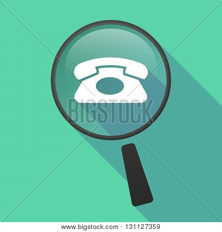 Long Shadow Magnifier Vector Icon With  A Retro Telephone Sign