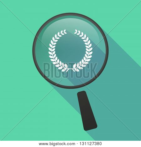 Long Shadow Magnifier Vector Icon With  A Laurel Crown Sign