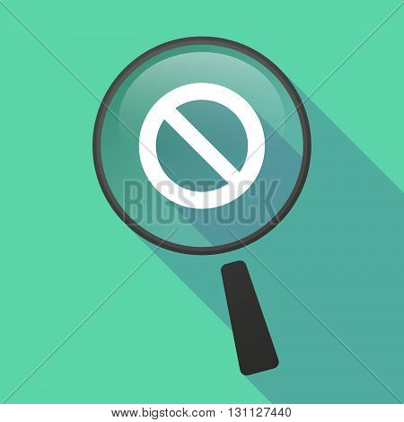 Long Shadow Magnifier Vector Icon With  A Forbidden Sign