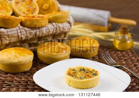 Traditional French Quiche, empada, empadao and empadinha