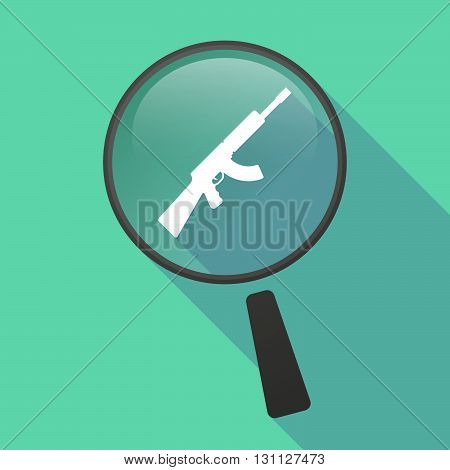Long Shadow Magnifier Vector Icon With  A Machine Gun Sign