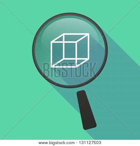 Long Shadow Magnifier Vector Icon With  A Cube Sign