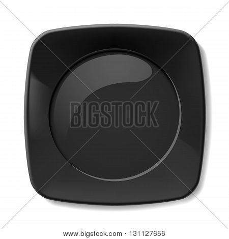 Illustration of empty black plate on white background