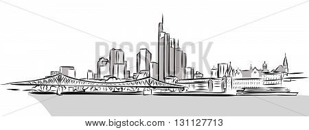 Frankfurt Main Downtown Outline Sketch