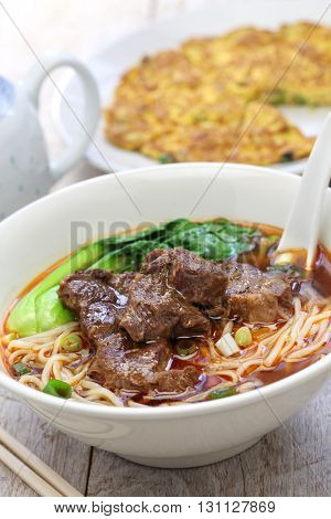 beef noodle soup,dried radish omelet, taiwanese cuisine