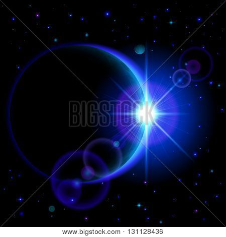 Space background. Dark planet with blue radiance and bright flare among stars and other planets