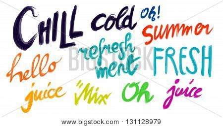 Hand Written Typo Summer Words in various colors for Headlines and Advertising