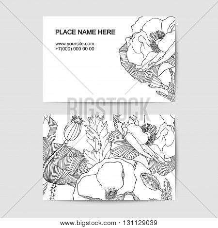 visit card template with poppy linear flowers for florist salon