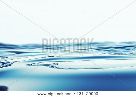 Blue sea water surface horizon with depth of field effects. 3d illustration
