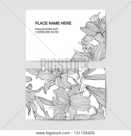visit card template with linear lily flowers for florist salon