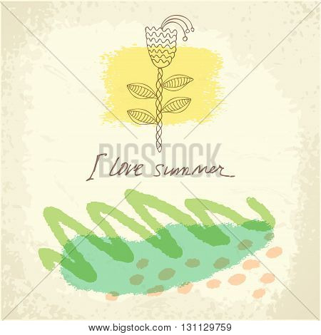 Vector hand drawn floral template card. Doodle summer background. Design for Wedding, anniversary, birthday, Valentines day, party.