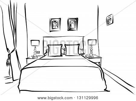 Hotel Room Interieur Hand Drawn Outline Sketch