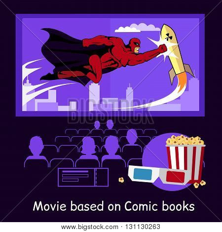 Movie based on comic books banner. Conceptual banner audience in a movie theater watching the premiere of the film based on a comic book with glasses and popcorn design flat. Vector illustration