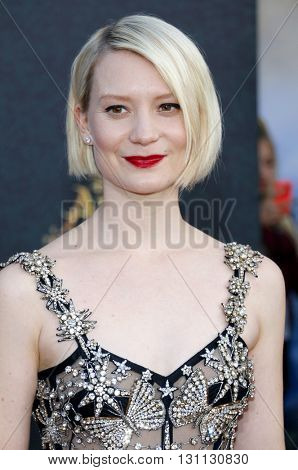 Mia Wasikowska at the Los Angeles premiere of 'Alice Through The Looking Glass' held at the El Capitan Theater in Hollywood, USA on May 23, 2016.