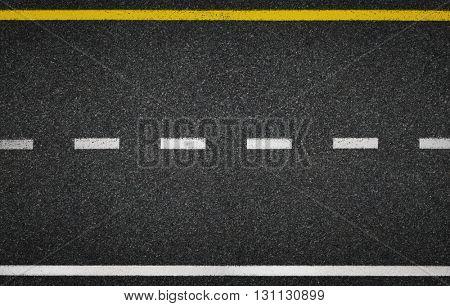 Asphalt road top view. Highway line marks.