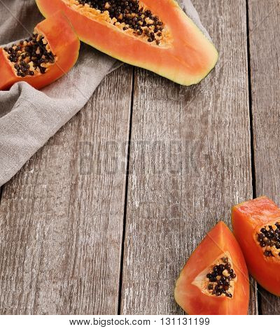 Food. Papaya on the table